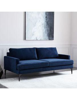 """Andes Sofa (76.5"""")   Ink Blue (Performance Velvet) by West Elm"""