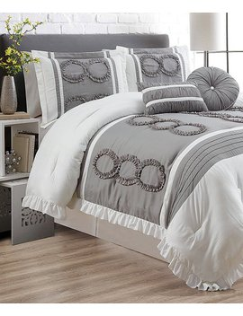 White & Gray Renesse Five Piece Comforter Set by Ramallah Trading Company, Inc.