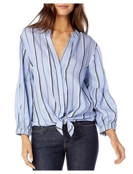 Striped Tie Front Cotton Shirt by Michael Stars
