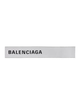 White & Black Large Logo Scarf by Balenciaga