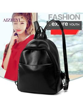 3pcs/Set Backpack Women Black Backpack Pu Leather Bookbags School Backpacks Bags For Teenage Girls Bagpack Backbag Day Clutch  by Aizhiyi