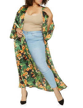 Plus Size Floral Satin Kimono by Rainbow