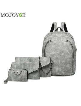 4 Pcs/Set Pu Leather Backpack Women Shoulder Bag  Simple Fashion Backpack Clutch Bag Female Back Pack Classic Backpacks Rucksack  by Mojoyce