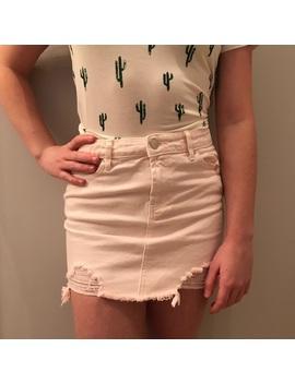 Distressed Light Pink Denim Skirt by Forever 21