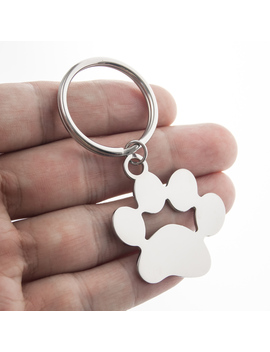 Friendship Gift Dog Paw Metal Key Ring Loop Stainless Steel Blank Charm For Personalized Printing Key Chain Key Fob Accessories  by Ali Express