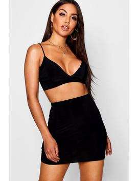 Panelled Skirt & Bralet Co Ord Set by Boohoo