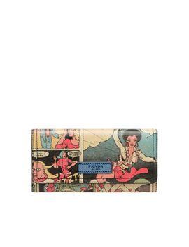 Comics Print Leather Wallet by Prada