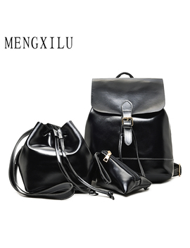 Mengxilu 3 Pcs /Set Female Backpack Women Bag Fashion Belt School Bags For Teenagers High Quality Pu Leather Backpack Sac A Dos by Mengxilu