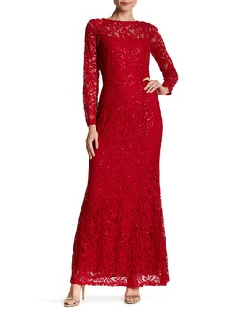 Long Sleeve Lace Gown by Marina