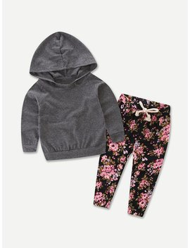 Girls Hooded Sweatshirt With Drawstring Calico Print Pants by Romwe