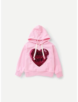 Girls Contrast Sequin Hooded Sweatshirt by Romwe