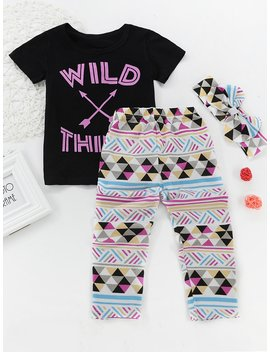 Girls Letter Print Top With Pants by Romwe