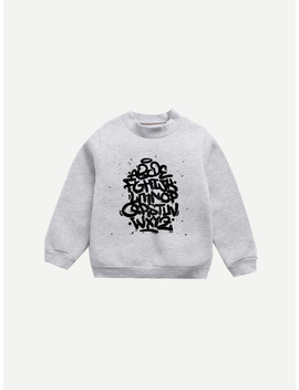 Girls Letter Print Sweatshirt by Romwe