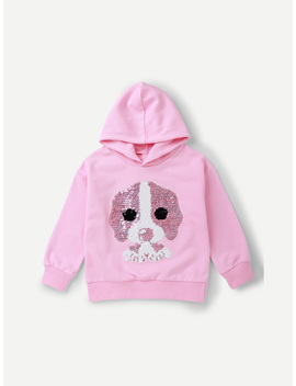 Girls Contrast Sequin Dog Pattern Sweatshirt by Romwe