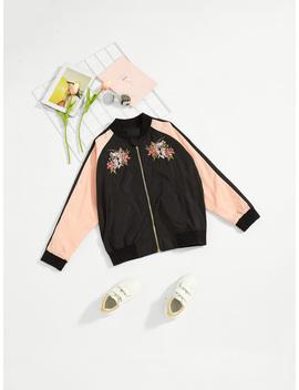 Girls Contrast Raglan Sleeve Embroidery Detail Jacket by Romwe