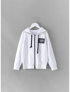 Girls Patched Decoration Zip Up Hooded Jacket by Romwe