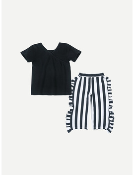 Girls Solid Top With Striped Pants by Romwe