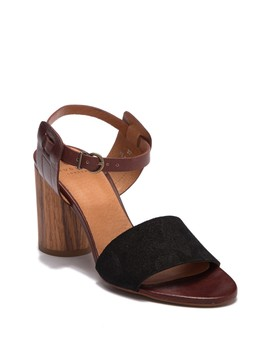Silia Leather & Suede Block Heel Sandal by Hudson London