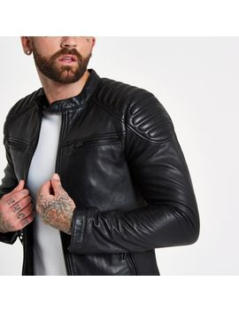 Superdry Black Leather Racer Jacket by River Island