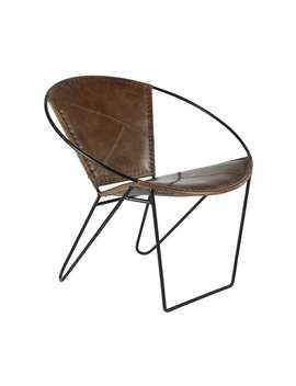 Studio 350 Modern Brown Leather And Iron Chair by Studio 350