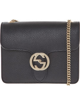 Black Grained Leather Shoulder Bag by Gucci