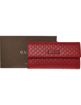 Red Embossed Leather Purse by Gucci