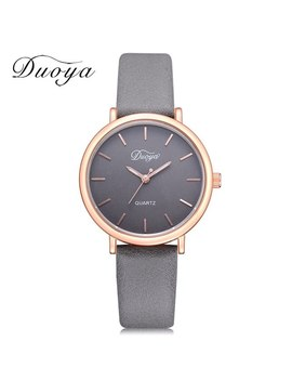 2018 Duoya Top Luxury Brand Rose Gold Dial Fashion Watch Women Quartz Thin Leather Strap Classic Simple Female Wristwatch Dy162 by Duoya