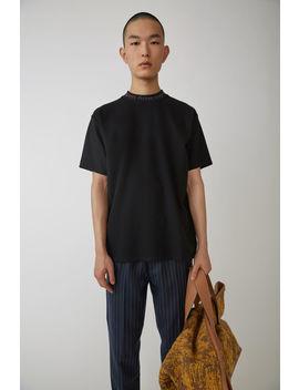 T Shirt Ras Du Cou à Logo Noir by Acne Studios