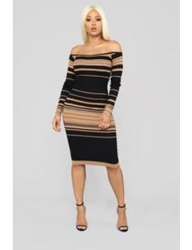 On Point Sweater Dress   Black/Mocha by Fashion Nova