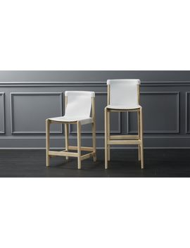 Burano White Leather Sling Bar Stools by Crate&Barrel