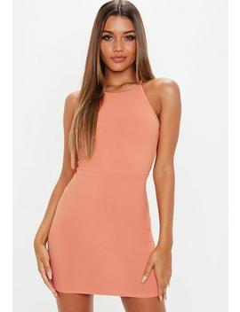 Terracotta 90s Neck Bodycon Mini Dress by Missguided