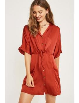 Uo Satin Tie Front Shirt Dress by Urban Outfitters