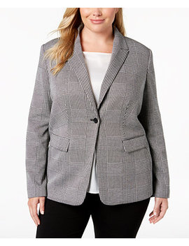 Plus Size One Button Plaid Jacket by Calvin Klein