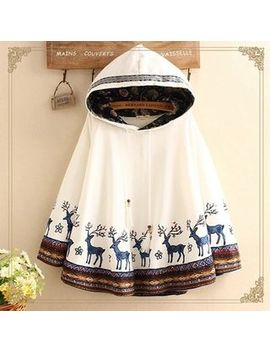 Nordic Embroidered Hooded Cape by Kawaii Fairyland