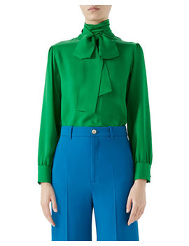 Button Back Long Sleeve Scarf Neck Silk Satin Georgette Blouse by Gucci