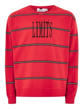 Red 'limits' Stripe Sweatshirt by Topman