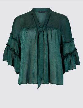 Jacquard V Neck 3/4 Sleeve Blouse by Marks & Spencer