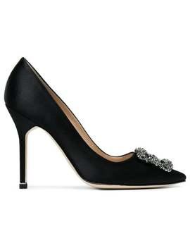 Manolo Blahnik Black Hangisi Buckle 105 Satin Pumps Home Women Manolo Blahnik Shoes Pumps by Manolo Blahnik
