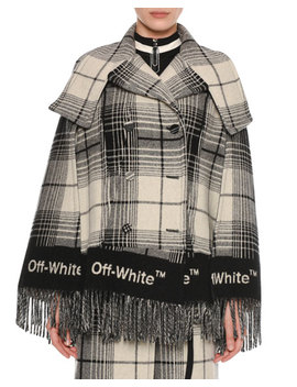 Double Breasted Check Blanket Cape by Off White