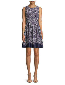 sleeveless-printed-scuba-fit-and-flare-dress by vince-camuto