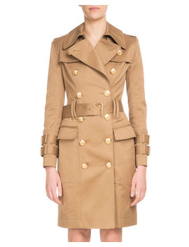 Double Breasted Golden Button Belted Trench Coat by Balmain