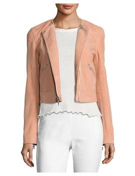 Hollander Suede Motorcycle Jacket, Pink by Rag & Bone