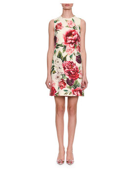 Sleeveless Rose & Peony Print Wool Crepe Shift Dress by Dolce & Gabbana