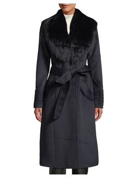 Long Coat W/ Removable Suri Alpaca Fur Collar by Neiman Marcus