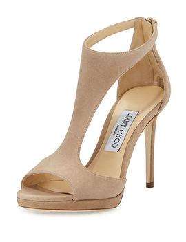 Lana Suede T Strap 100mm Sandal by Jimmy Choo