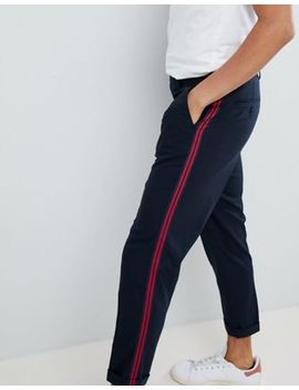 Asos Design Tapered Smart Trousers In Navy With Side Stripe Tape by Asos Design