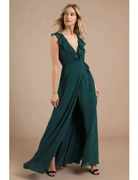 Treasure Me Emerald Ruffle Maxi Dress by Tobi