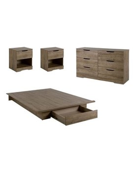 4 Piece Bedroom Set With Dresser, Bed, And Set Of 2 Nightstand In Weathered Oak by Home Square