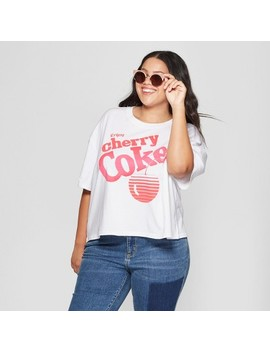 Women's Coca Cola Plus Size Short Sleeve Cherry Coke Cropped Graphic T Shirt (Juniors') White by Shop All Mighty Fine