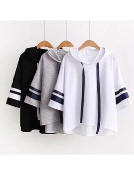 Elbow Sleeve Hooded T Shirt by Angel Love